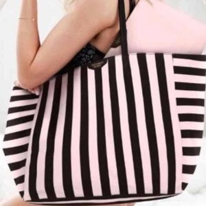 NWT Victoria's Secret pink /black striped tote bag